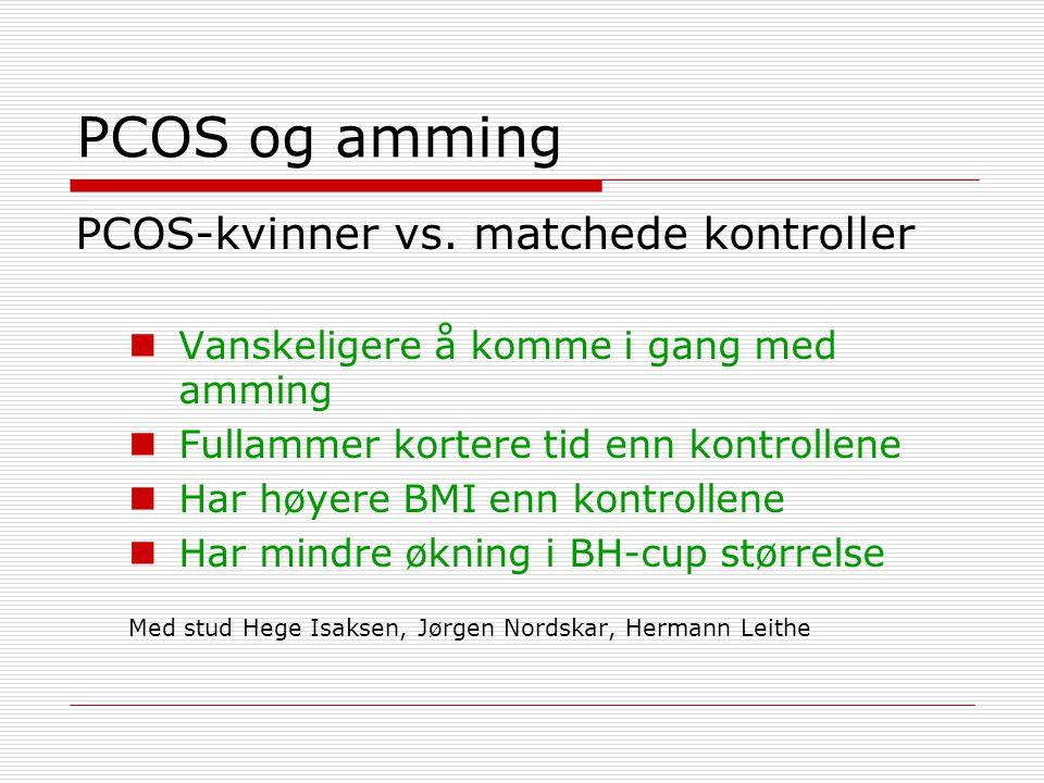 PCOS og amming PCOS-kvinner vs. matchede kontroller