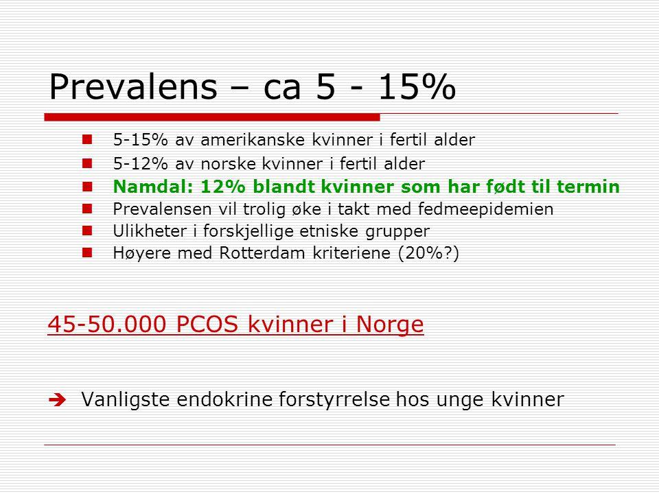 Prevalens – ca 5 - 15% 45-50.000 PCOS kvinner i Norge