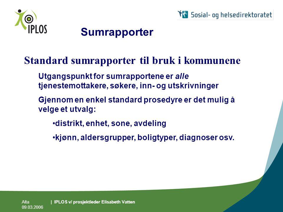 Sumrapporter Standard sumrapporter til bruk i kommunene