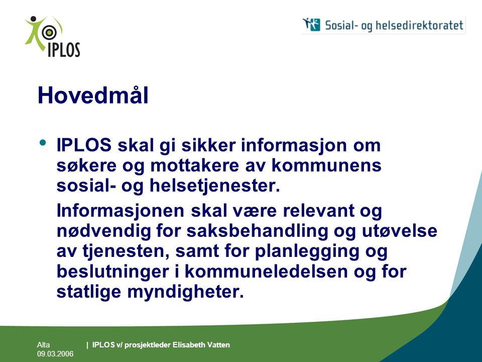 Hovedmål IPLOS skal gi sikker informasjon om søkere og mottakere av kommunens sosial- og helsetjenester.