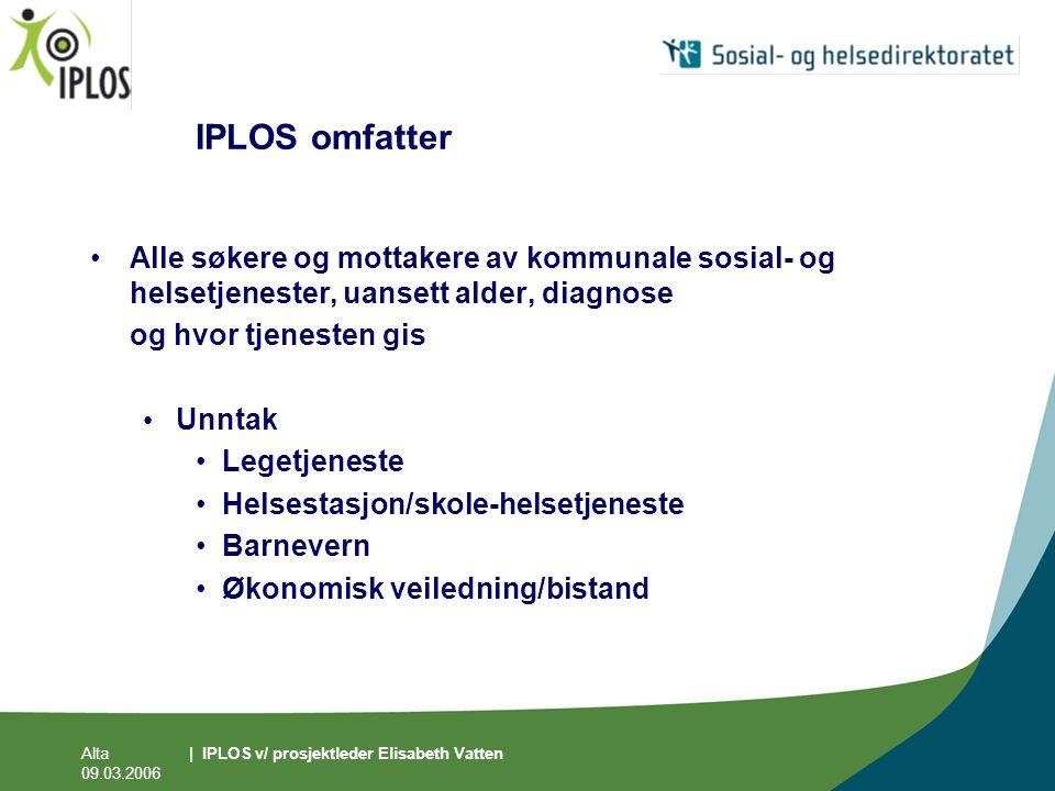 IPLOS omfatter Alle søkere og mottakere av kommunale sosial- og helsetjenester, uansett alder, diagnose.