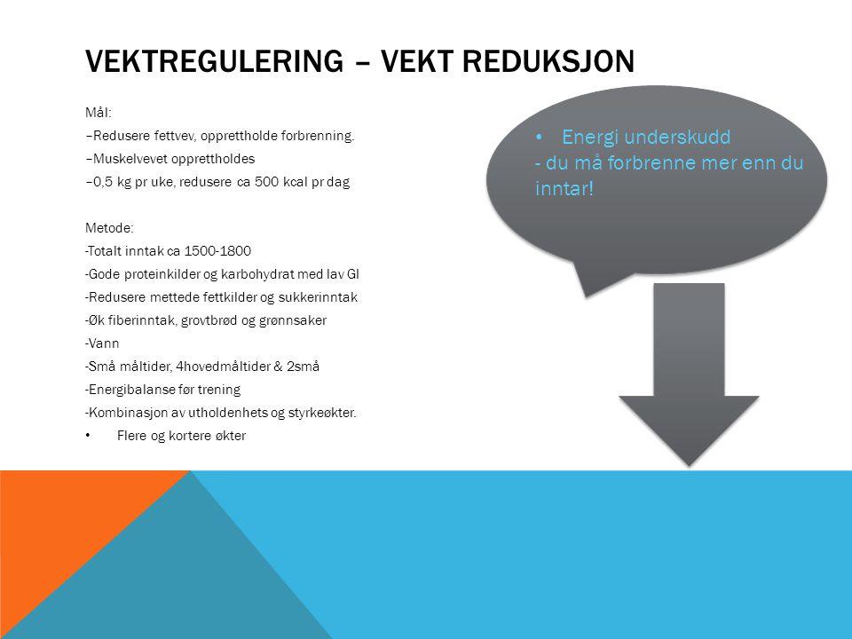 Vektregulering – Vekt reduksjon