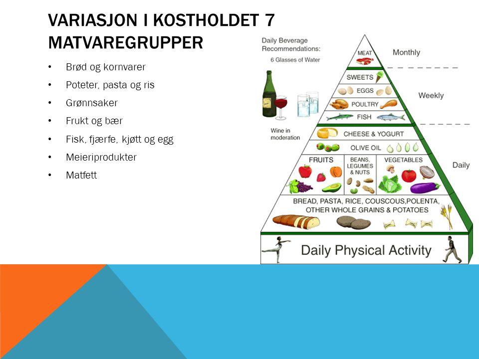 Variasjon i kostholdet 7 matvaregrupper