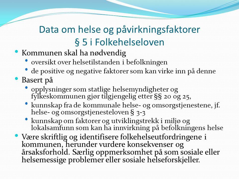 Data om helse og påvirkningsfaktorer § 5 i Folkehelseloven