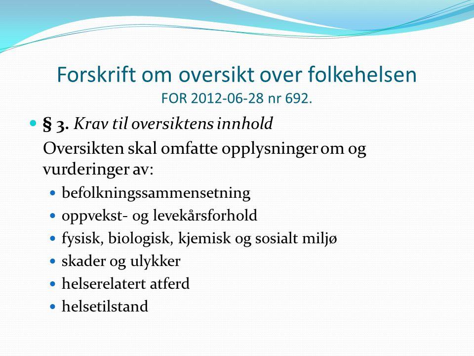 Forskrift om oversikt over folkehelsen FOR 2012-06-28 nr 692.
