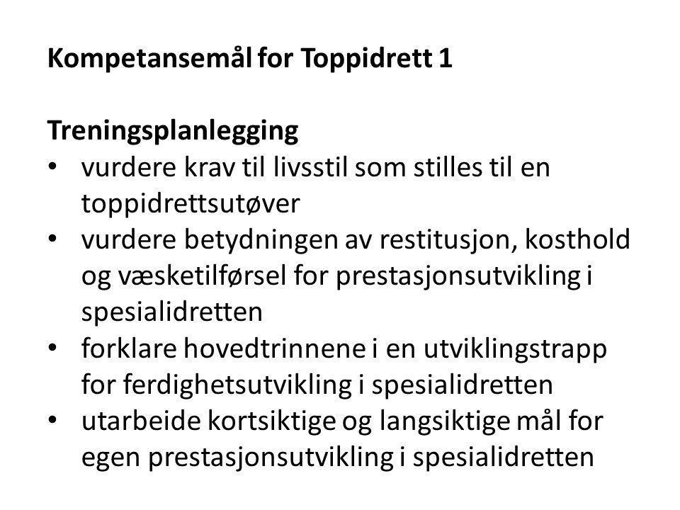 Kompetansemål for Toppidrett 1