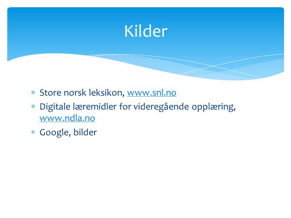 Kilder Store norsk leksikon, www.snl.no