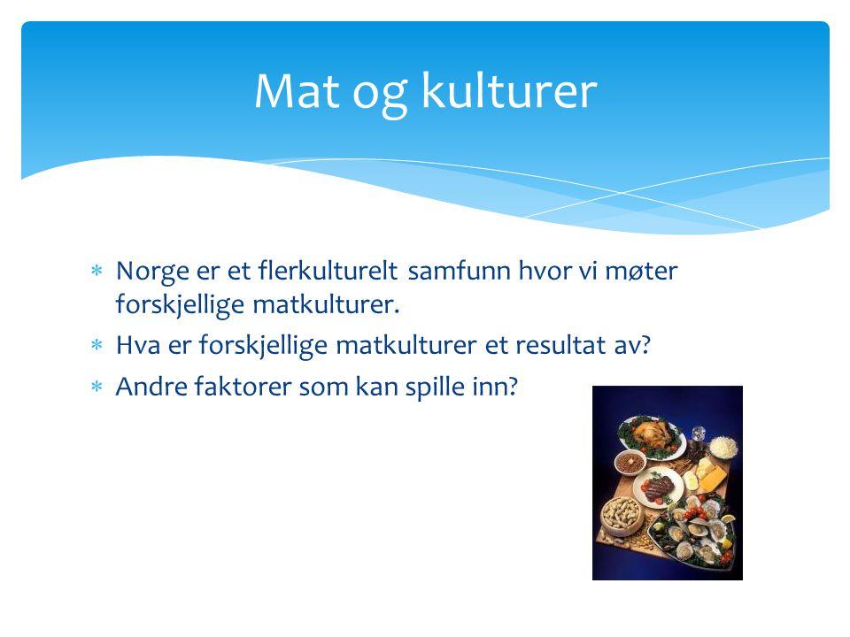 Mat og kulturer Norge er et flerkulturelt samfunn hvor vi møter forskjellige matkulturer. Hva er forskjellige matkulturer et resultat av