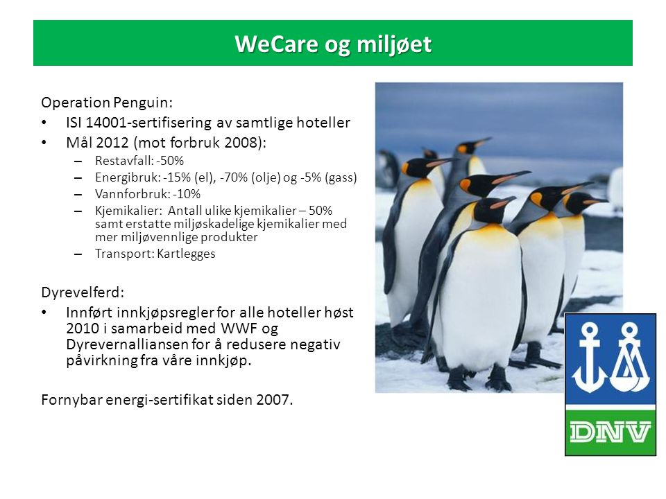 WeCare og miljøet Operation Penguin: