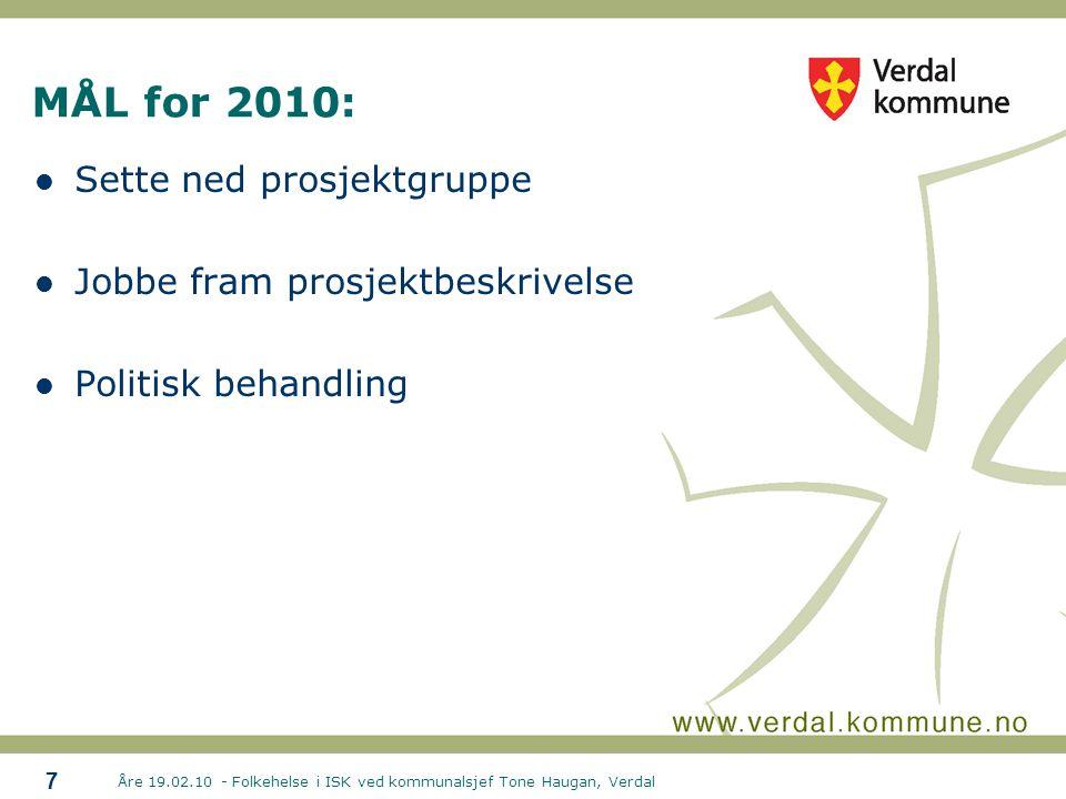 MÅL for 2010: Sette ned prosjektgruppe Jobbe fram prosjektbeskrivelse