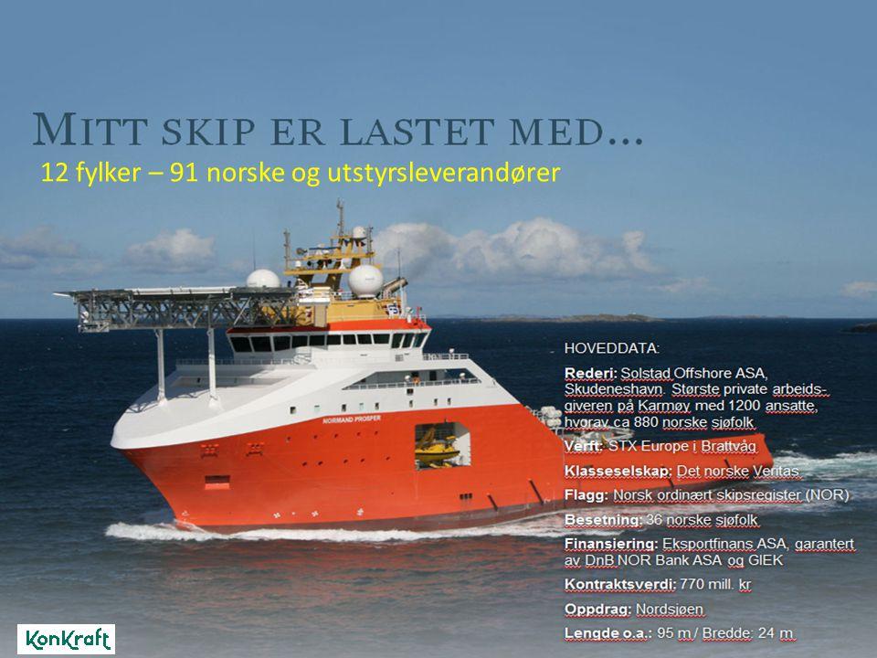 12 fylker – 91 norske og utstyrsleverandører