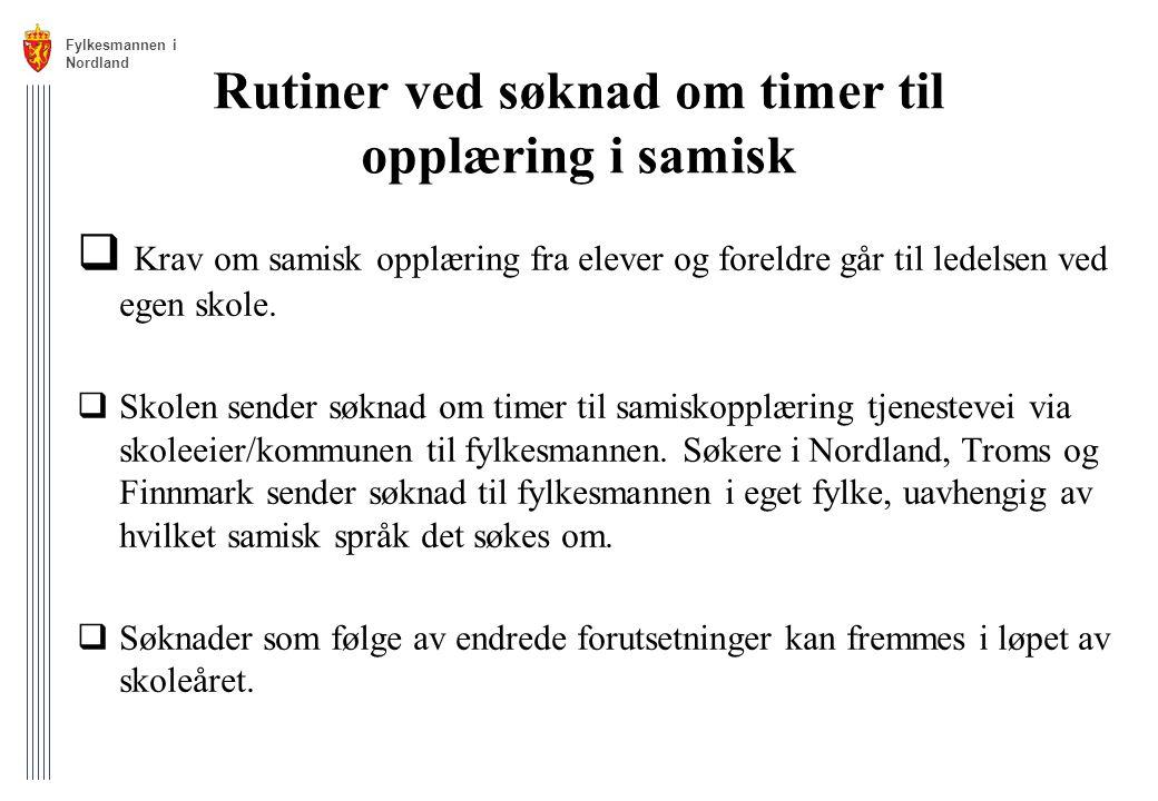 Rutiner ved søknad om timer til opplæring i samisk
