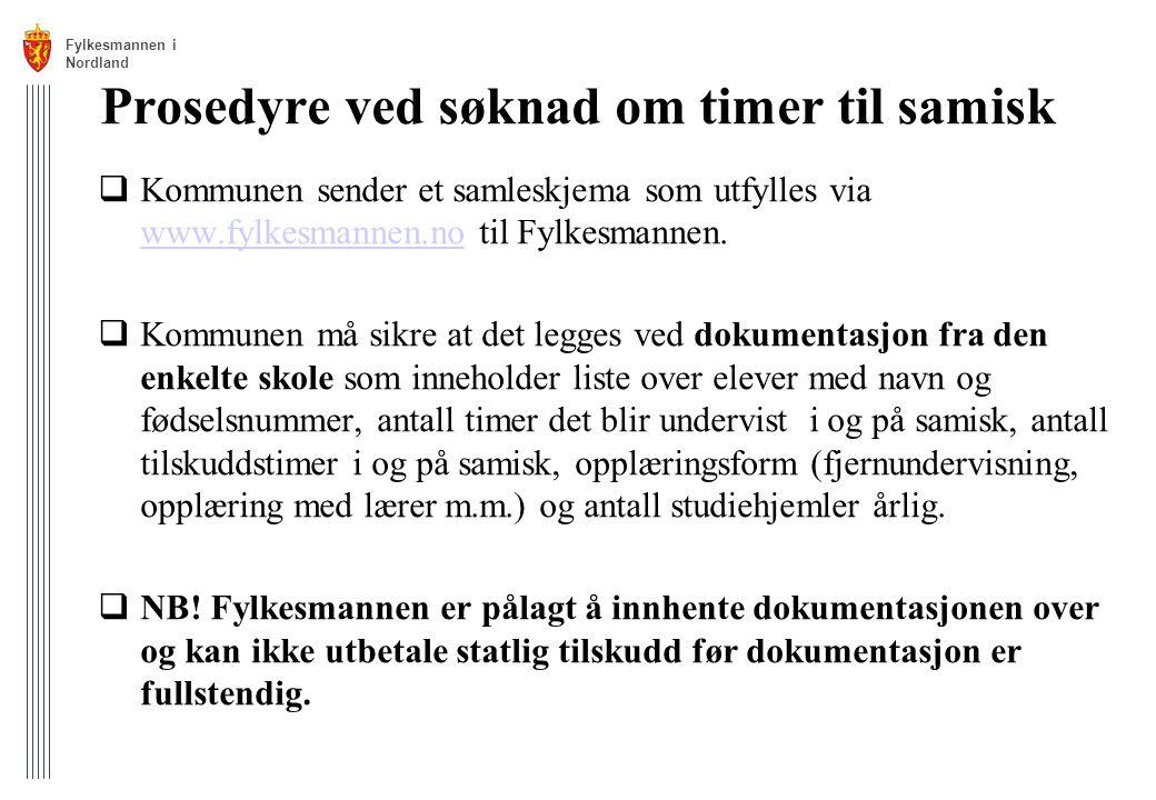 Prosedyre ved søknad om timer til samisk