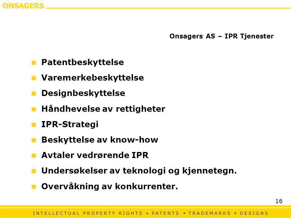 Onsagers AS – IPR Tjenester