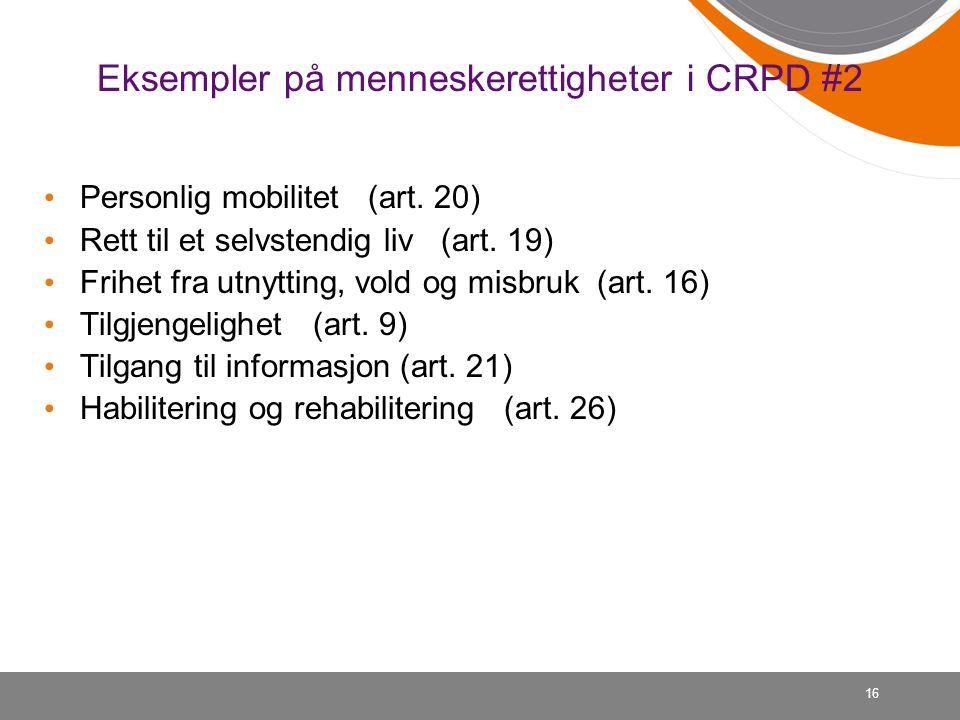 Eksempler på menneskerettigheter i CRPD #2