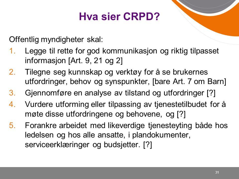 Hva sier CRPD Offentlig myndigheter skal: