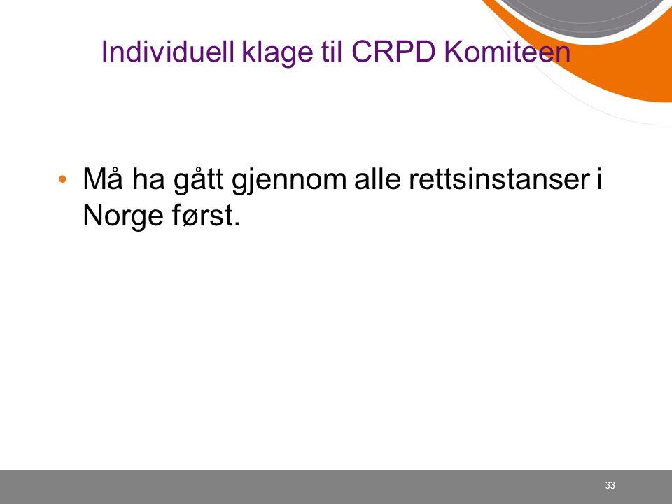 Individuell klage til CRPD Komiteen