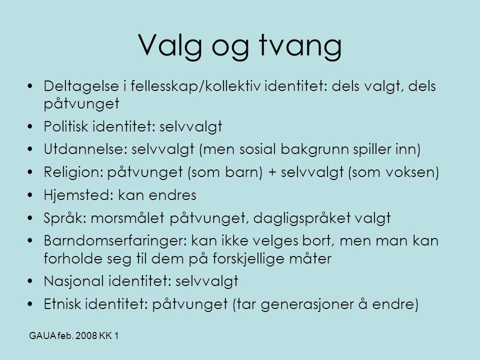 Valg og tvang Deltagelse i fellesskap/kollektiv identitet: dels valgt, dels påtvunget. Politisk identitet: selvvalgt.