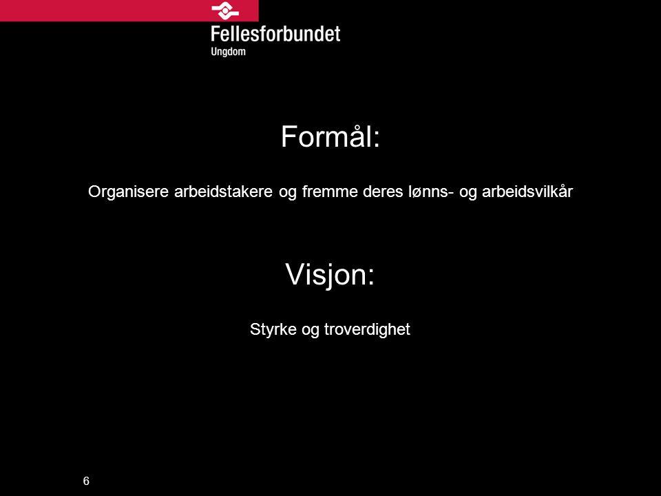 Formål: Organisere arbeidstakere og fremme deres lønns- og arbeidsvilkår.