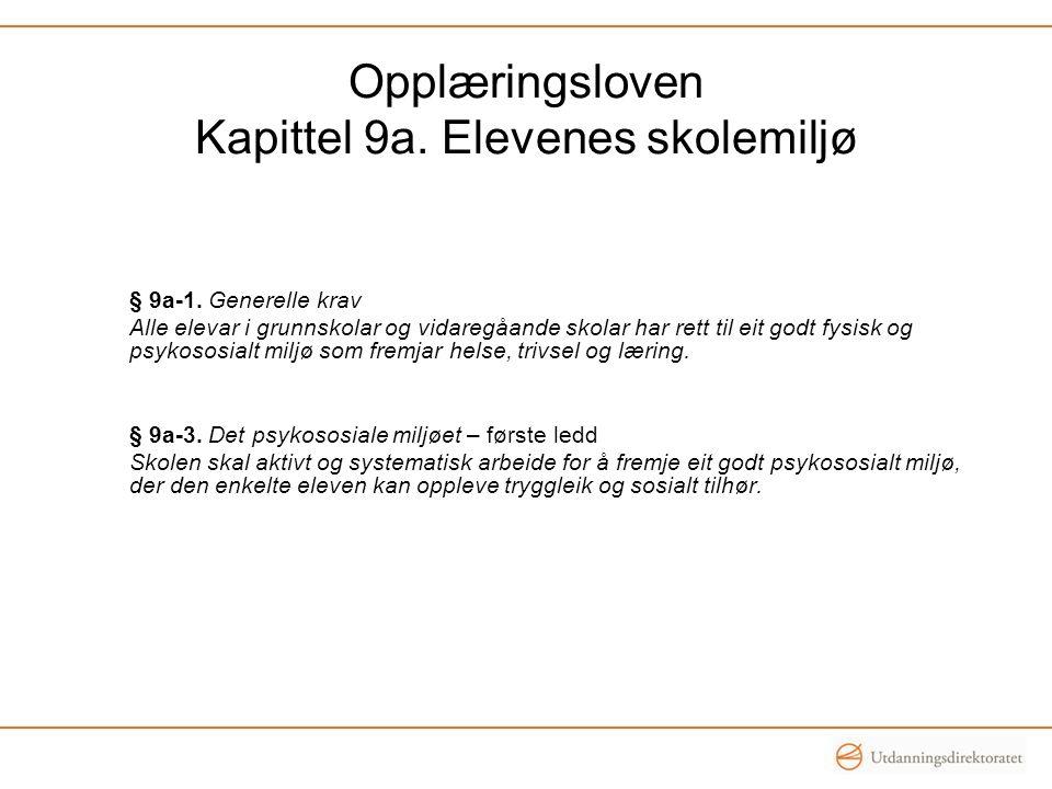 Opplæringsloven Kapittel 9a. Elevenes skolemiljø
