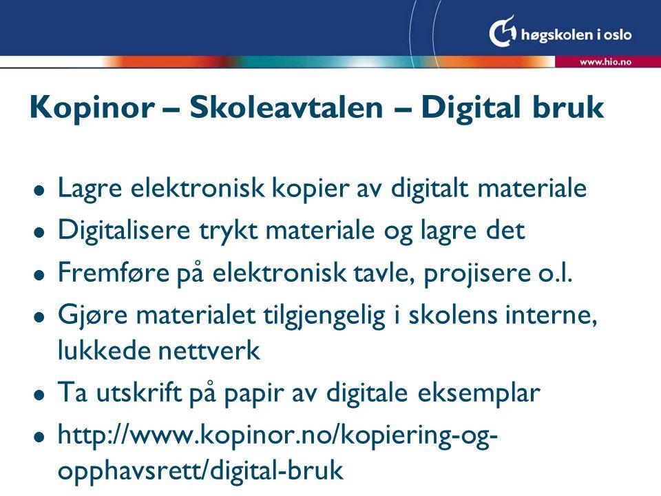 Kopinor – Skoleavtalen – Digital bruk
