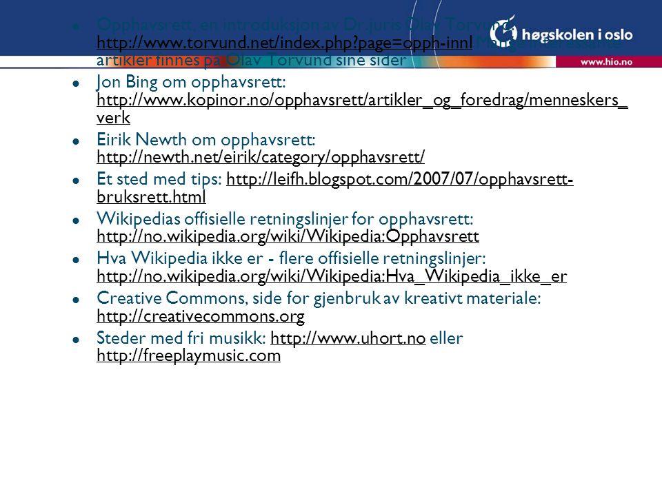Opphavsrett, en introduksjon av Dr. juris Olav Torvund: http://www