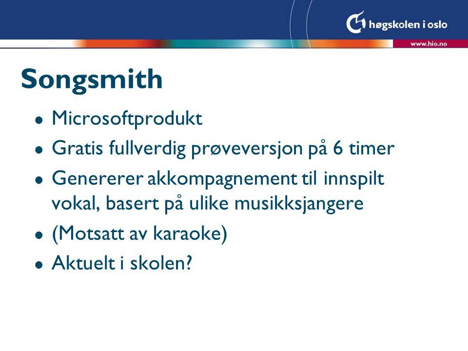 Songsmith Microsoftprodukt Gratis fullverdig prøveversjon på 6 timer
