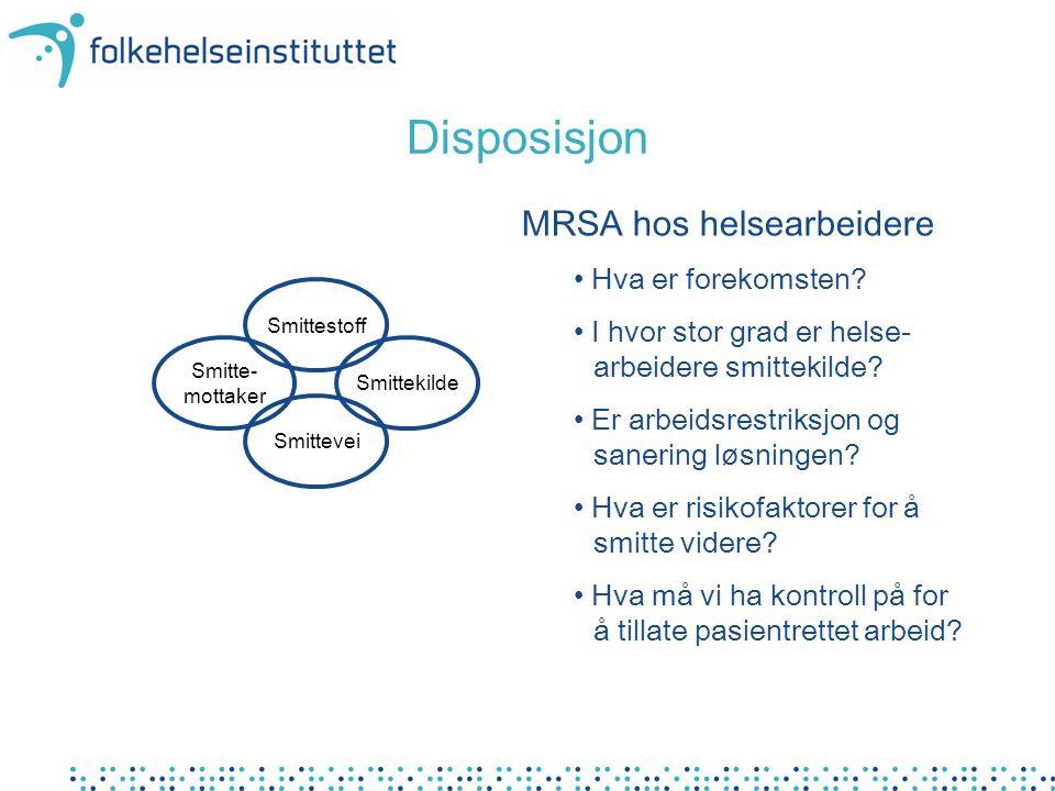 Disposisjon MRSA hos helsearbeidere Hva er forekomsten