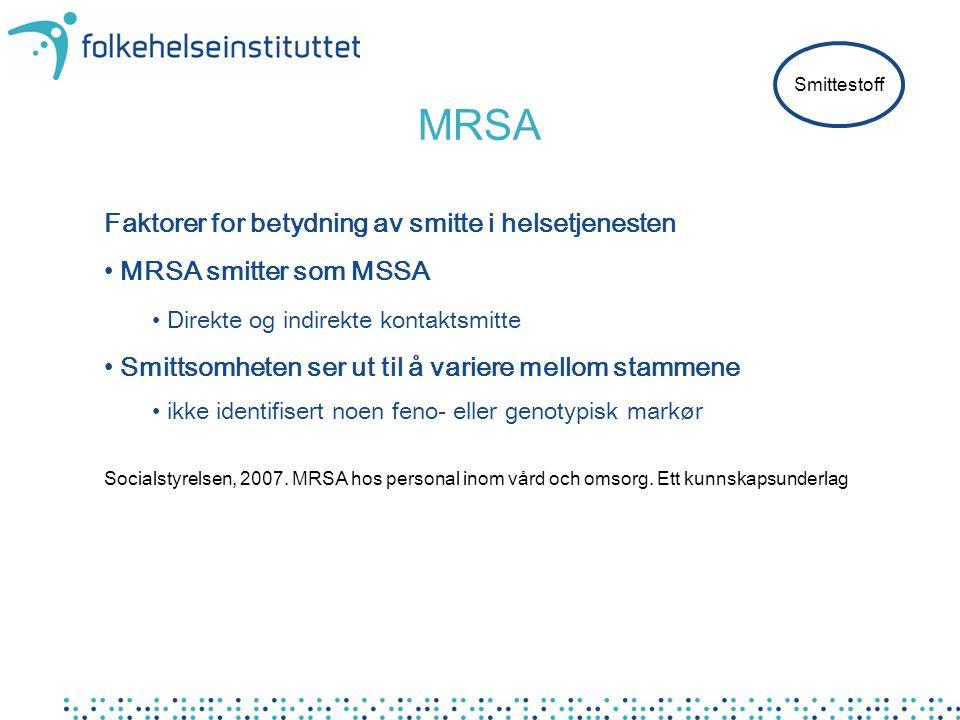 MRSA Faktorer for betydning av smitte i helsetjenesten