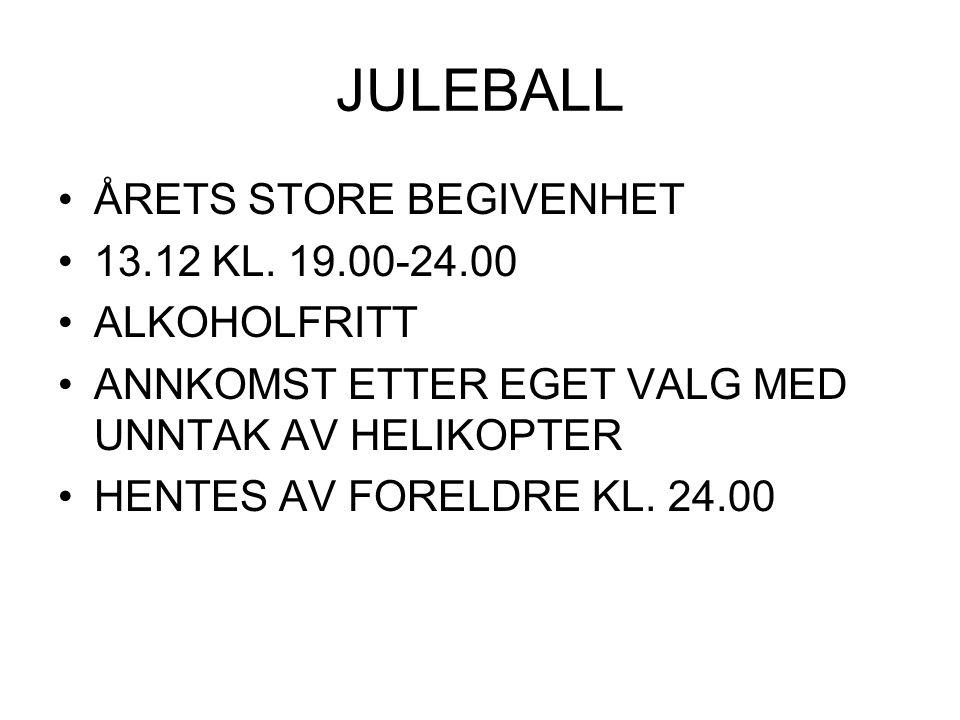JULEBALL ÅRETS STORE BEGIVENHET 13.12 KL. 19.00-24.00 ALKOHOLFRITT