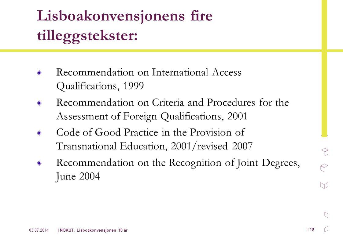 Lisboakonvensjonens fire tilleggstekster:
