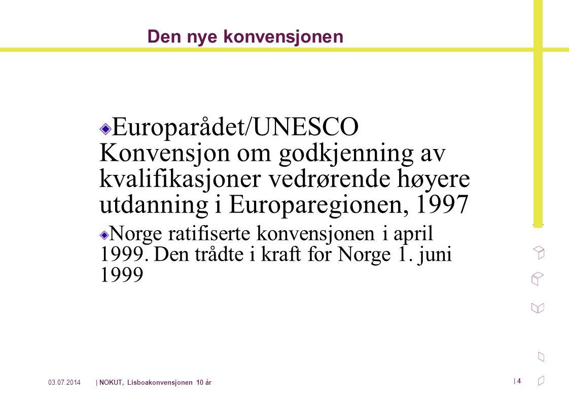 Den nye konvensjonen Europarådet/UNESCO Konvensjon om godkjenning av kvalifikasjoner vedrørende høyere utdanning i Europaregionen, 1997.