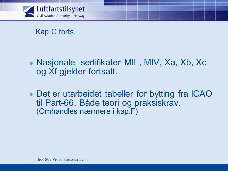 Nasjonale sertifikater MII , MIV, Xa, Xb, Xc og Xf gjelder fortsatt.