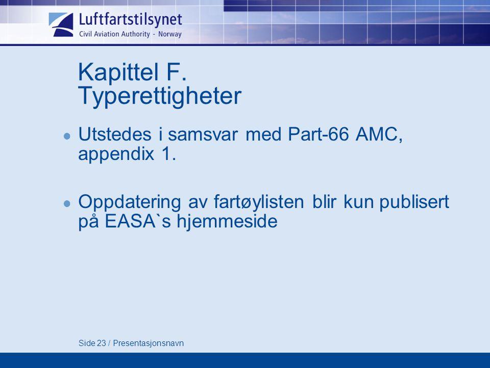 Kapittel F. Typerettigheter