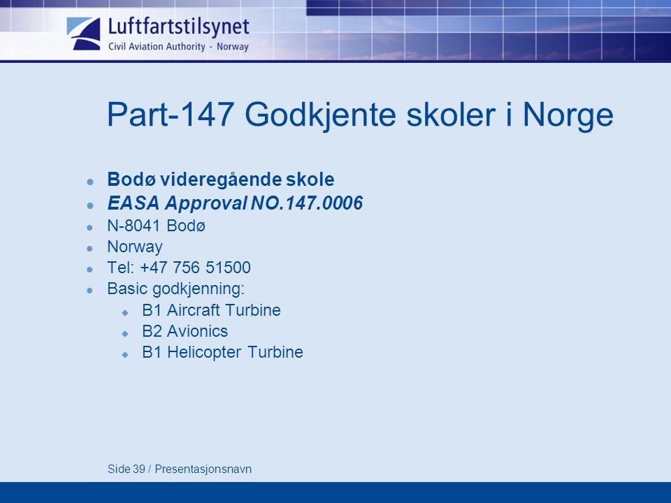 Part-147 Godkjente skoler i Norge