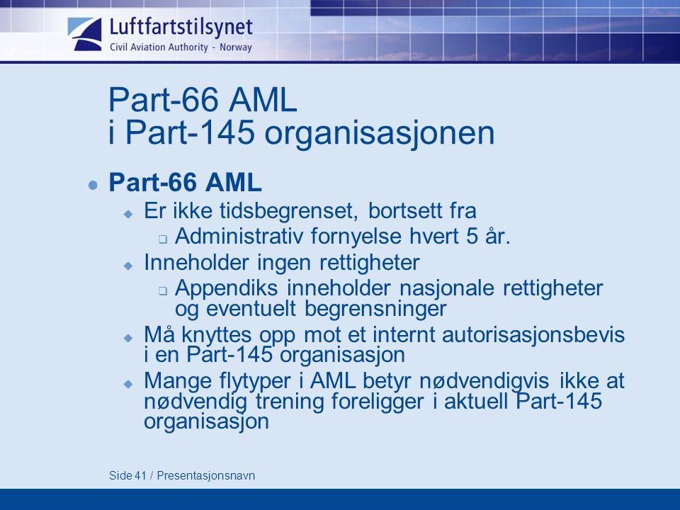 Part-66 AML i Part-145 organisasjonen
