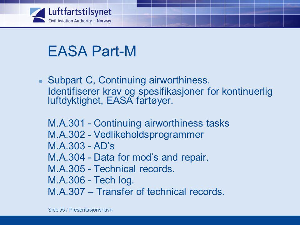 EASA Part-M Subpart C, Continuing airworthiness.