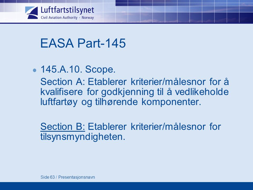 EASA Part A.10. Scope.