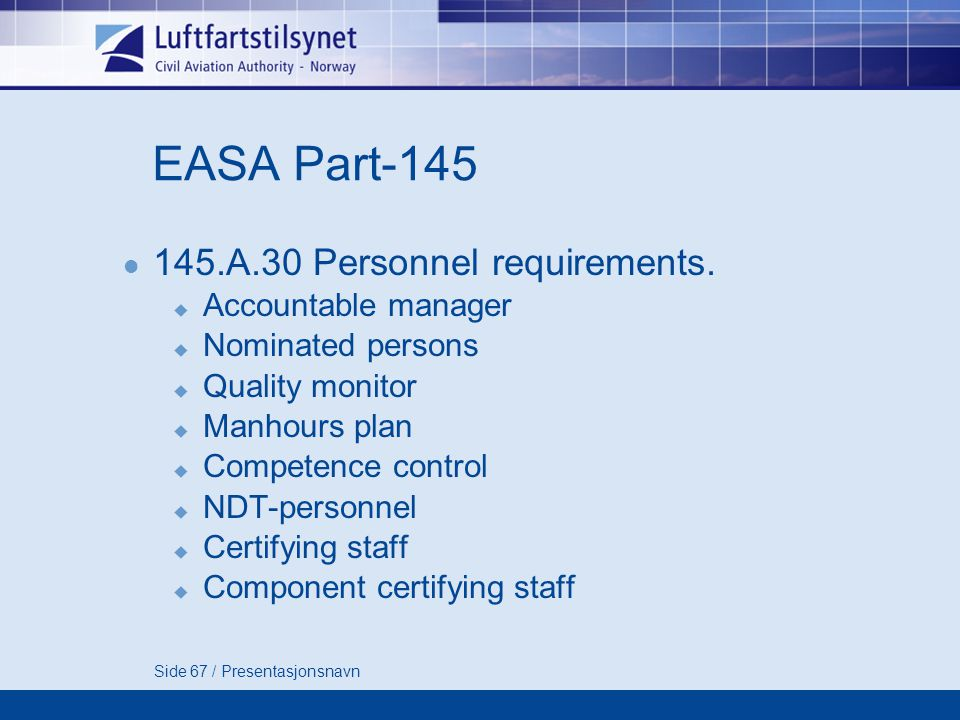 EASA Part A.30 Personnel requirements. Accountable manager