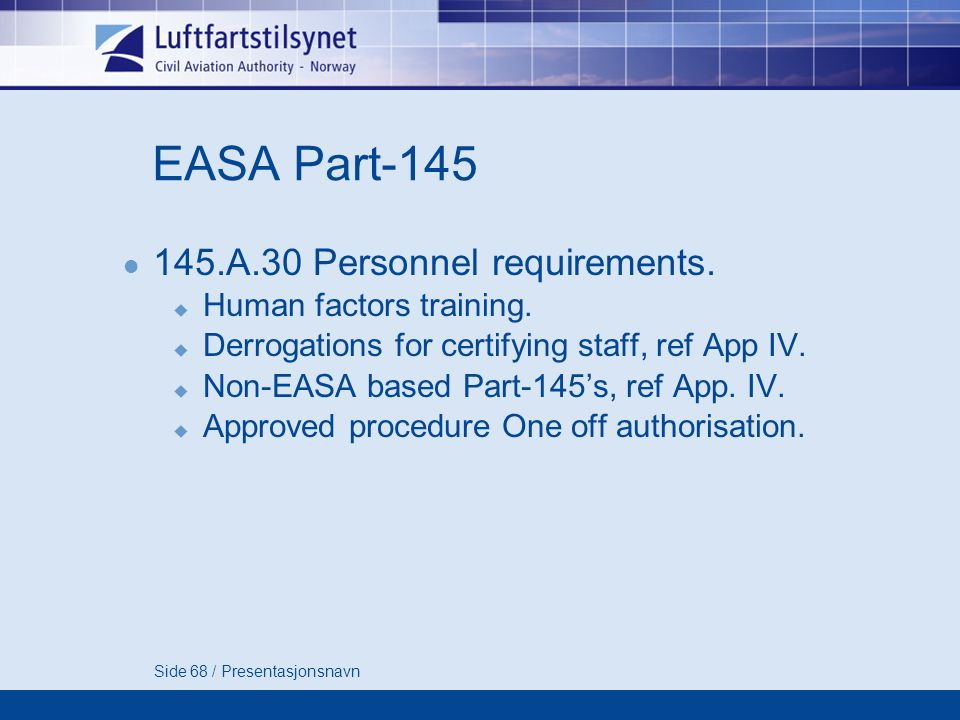 EASA Part-145 145.A.30 Personnel requirements. Human factors training.