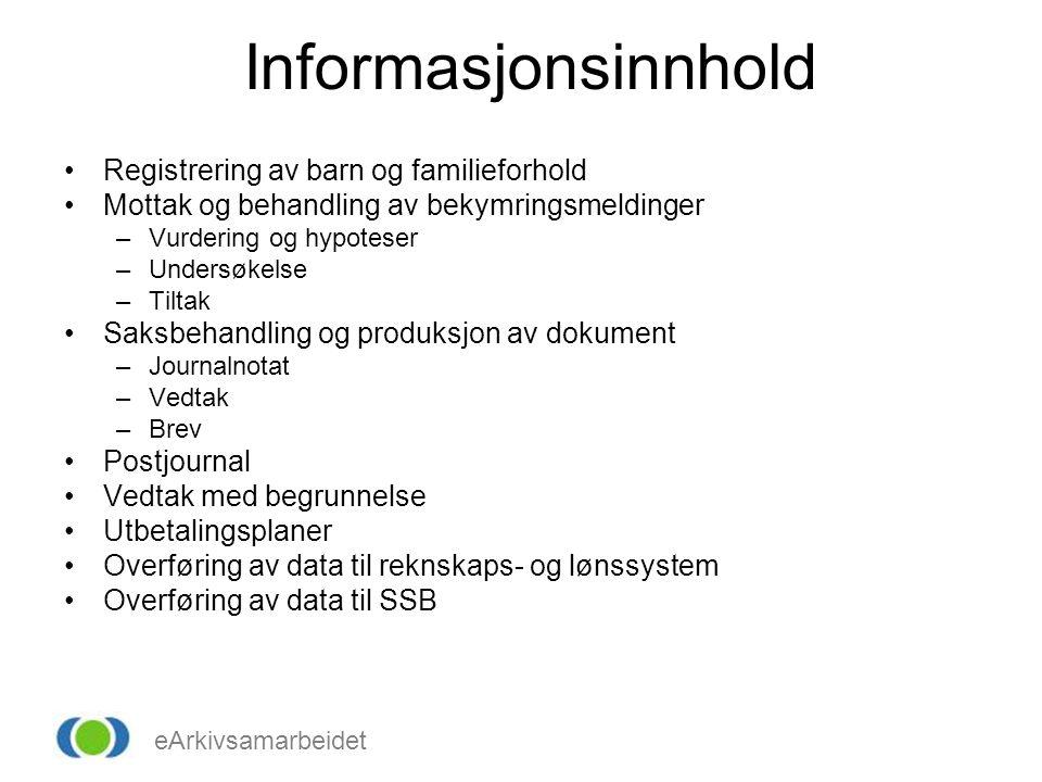Informasjonsinnhold Registrering av barn og familieforhold