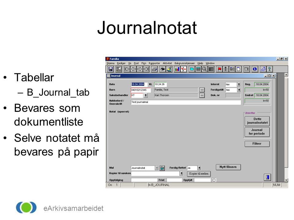 Journalnotat Tabellar Bevares som dokumentliste