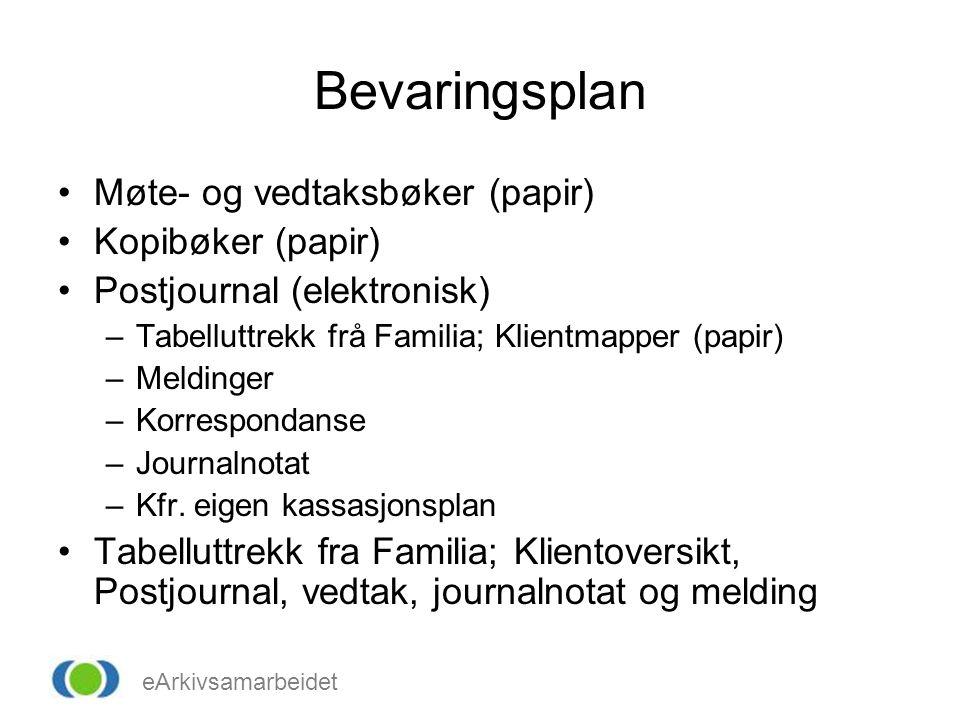 Bevaringsplan Møte- og vedtaksbøker (papir) Kopibøker (papir)
