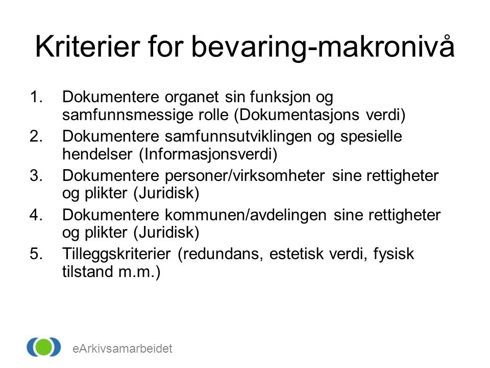 Kriterier for bevaring-makronivå