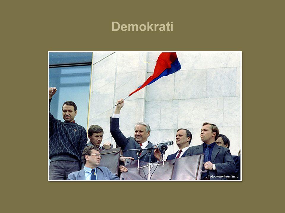 Demokrati Boris Jeltsin, en forkjemper for demokratiet i Russland. Jeltsin var landets første demokratisk valgte president.