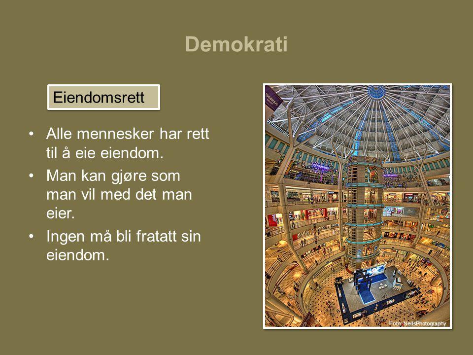 Demokrati Eiendomsrett Alle mennesker har rett til å eie eiendom.