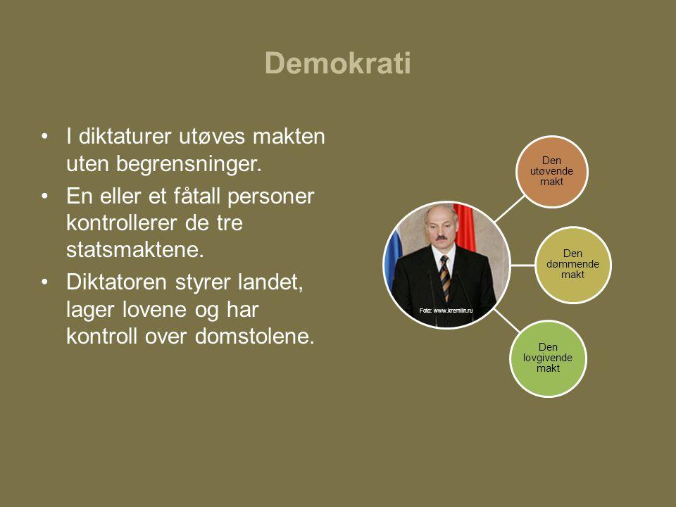 Demokrati I diktaturer utøves makten uten begrensninger.