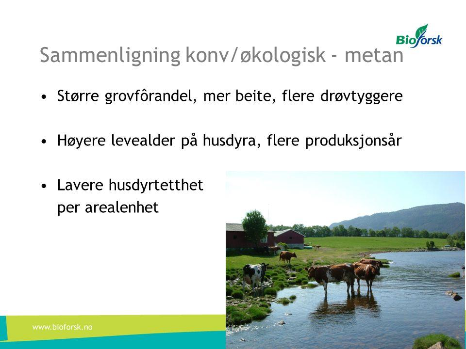Sammenligning konv/økologisk - metan