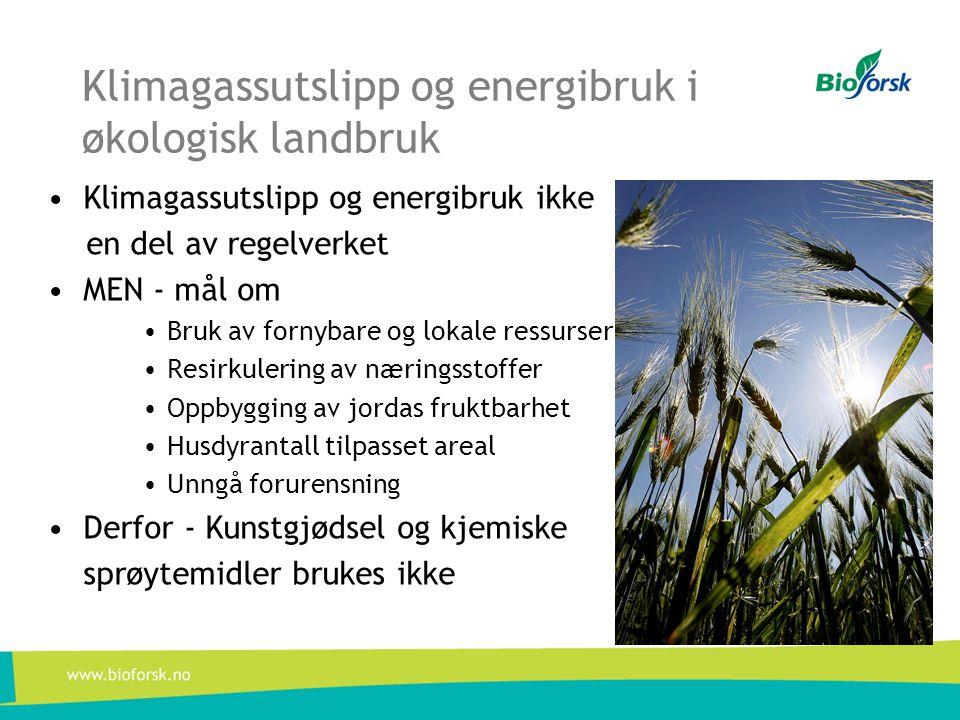 Klimagassutslipp og energibruk i økologisk landbruk