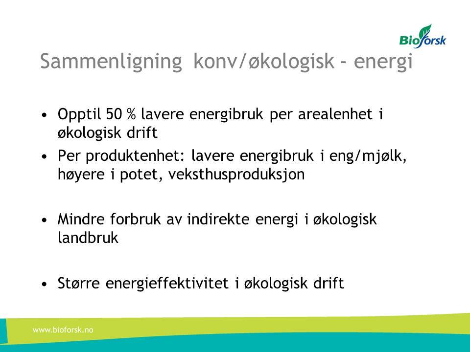 Sammenligning konv/økologisk - energi